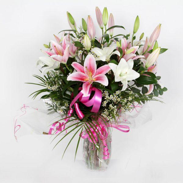 Ramo blanco / rosa lilium   Trébol Floristas
