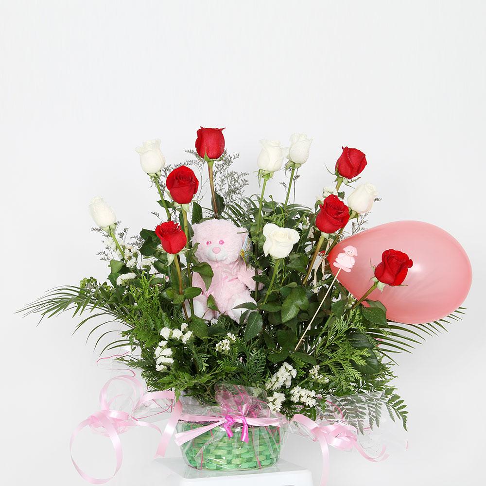 Centro de rosas rojo / blanco con muñeco | Trébol Floristas