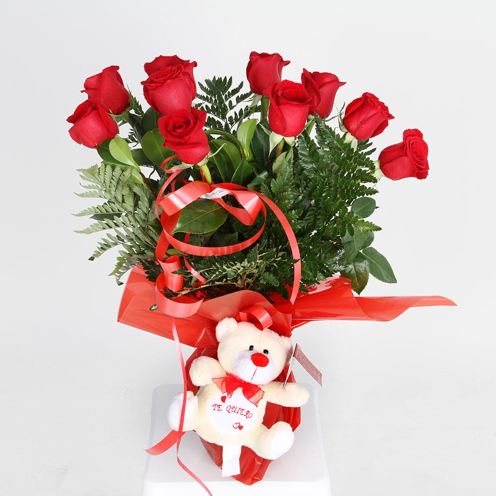 Ramo de rosas rojas con muñeco | Trébol Floristas